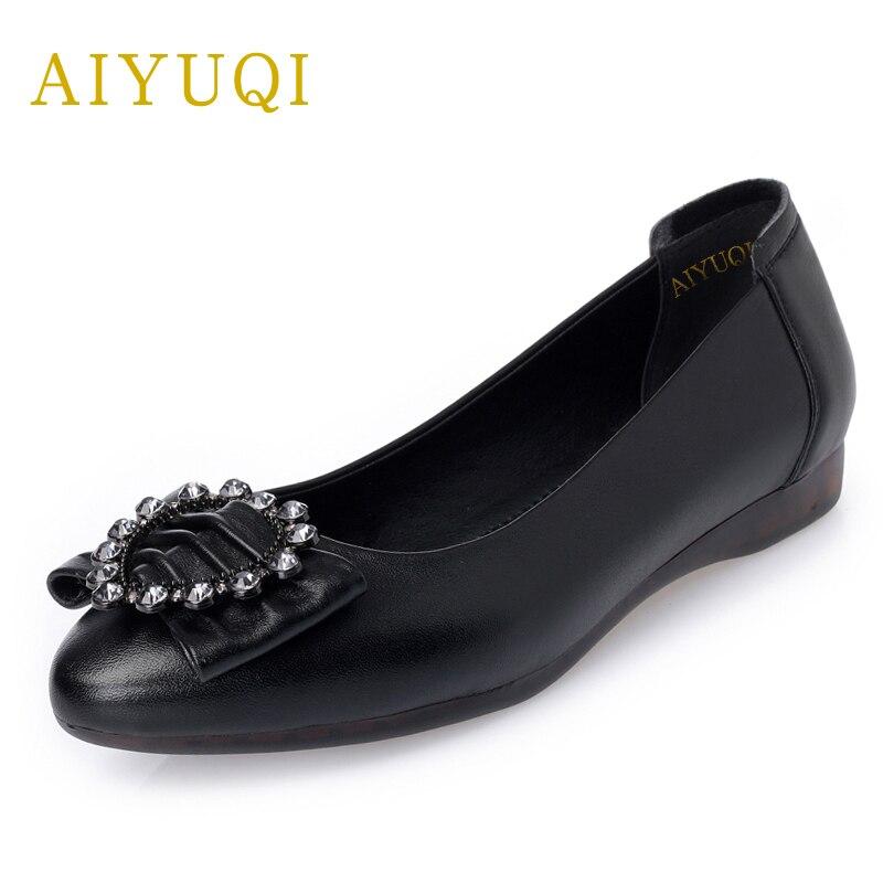 Appartements Profonde 2019 Ensembles Peu Beige black Travail Chaussures Professionnel Femmes Femme Nouveau De Mou Ronde Printemps Cuir En Véritable Pour Fond Aiyuqi Bouche 7zqAd7
