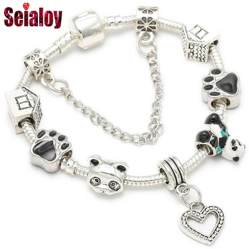 Seialoy bonito panda charme pulseira para mulher banhado preto branco contas de vidro murano marcas pulseira meninas jóias presente