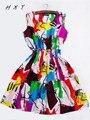 Marca de Moda de Las Nuevas Mujeres de Albaricoque Sin Mangas Cuello Redondo Florals Imprimir Vestido Plisado 2015 Saias Femininas Ropa de Verano