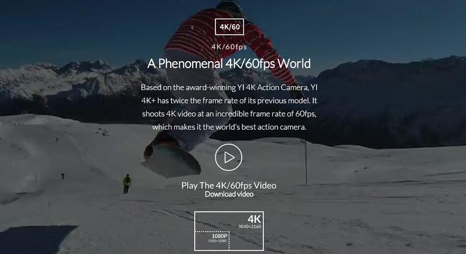International Edition YI 4K+ Action Camera Ambarella H2 4K/60fps 12MP 155 Degree 2.19″ RAW YI 4K Plus Sports Action Camera