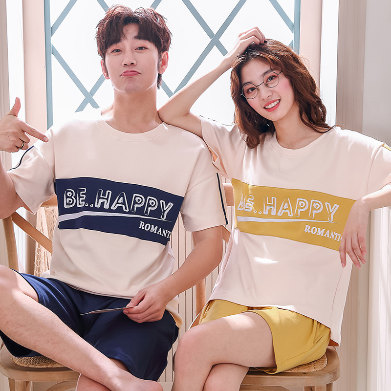 Lounge Wear For Men Summer Home Men Clothing Cotton Short-sleeved Shorts Set Sleepwear For Men Student Loose Pajamas For Couples