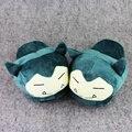 Nueva Cartoon Peluches Snorlax Zapatos Lindos Zapatillas Suaves de Interior Suave Peluche de Felpa de Invierno Zapatillas Zapatos De Peluche Adut