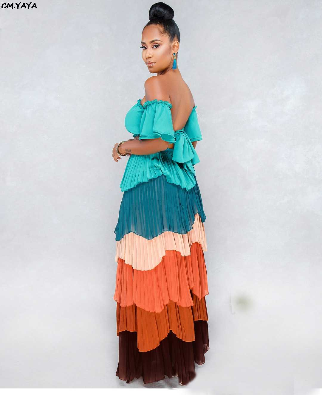 9d4a304493097 2019 women off shoulder tie up crop top cascading ruffles pleated maxi  skirts set 2pcs suit outfit lond dresses 3 color DF0616