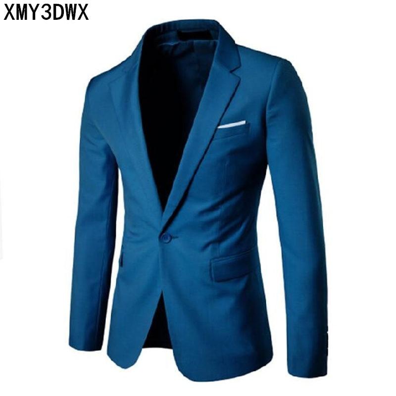 2018 Fashion Party Mens slim fit cotton blazer Suit Jacket black blue Gray plus size L-6XL Male blazers Mens coat Wedding dress
