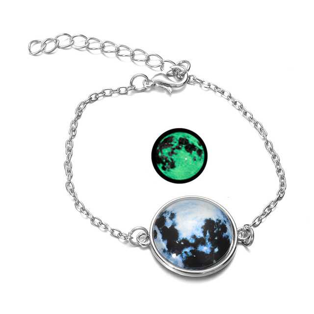 DIEZI Glow In The Dark Glass Cabochon Gray Moon Luminous Jewelry Silver Chain Link Bracelets 2
