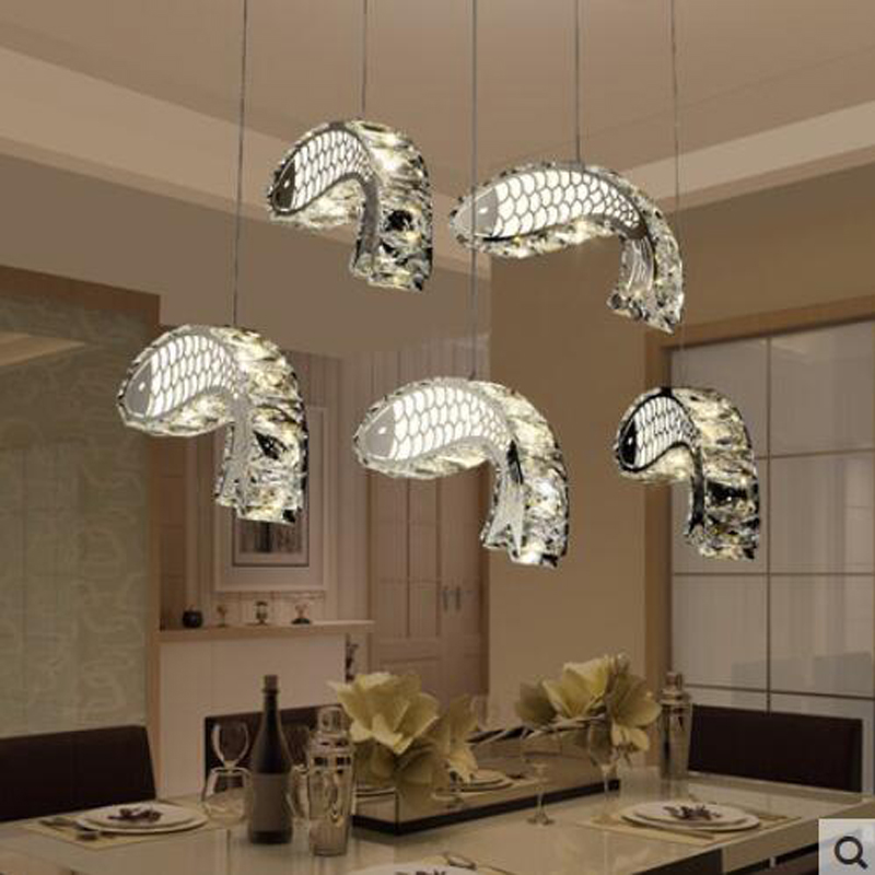 T 2016 New Fish LED Crystal Luxury Pendant Light Modern Creative Lamps For Restaurant Dining Room Foyer Bedroom DHL Free bicycle shape led modern crystal pendant lamps unique creative latest popular style led pendant light free shipping