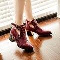 2016 Sexy Primavera Otoño Señaló Dedo Del Pie Zapatos de Las Mujeres de LA PU de Cuero Hebilla Zapatos Femeninos Remaches Tacón Cuadrado Zapatos de Las Mujeres