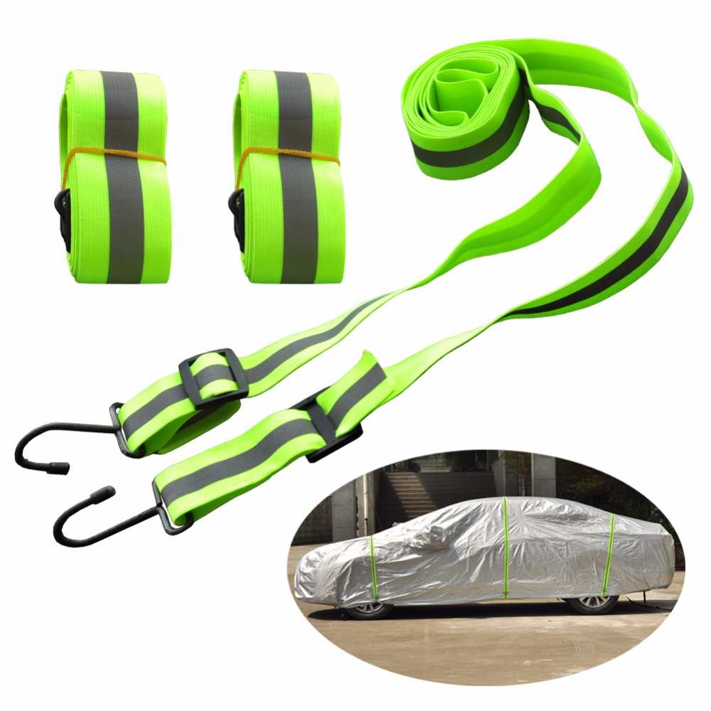 Kayme Gust Car Cover Straps Wind Protector,3pcs Elastic Adjustable Rope Protect Cover from High Wind, Universal FitReflective Strips   -