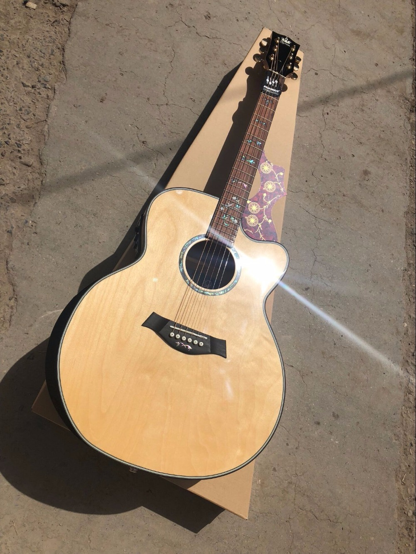 free shipping Byron jumbo CUSTOM acoustic guitar Cutaway natural wood customize electric acoustic guitar acoustic metamaterials