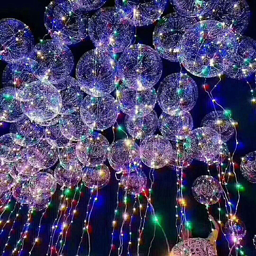 18inch Luminous Led Helium Balloon LED Air Balloon String Lights Round Bubble Festival Wedding Party Decoration Kids Toy