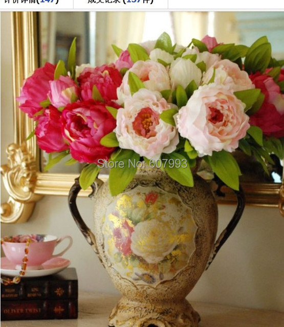 Aliexpress buy 7 heads large silk peony bouquet artificial 7 heads large silk peony bouquet artificial flower arrangement bridal bouquetwedding party mightylinksfo