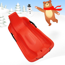Outdoor Sports Plastic Skiing Boards Sled Luge Snow Sand Grass Board Ski Pad Snowboard with Rope Brake Function 4 Colors