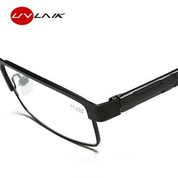 UVLAIK Men Titanium alloy Reading Glasses Non spherical 12 Layer Coated lenses Retro Business Hyperopia Prescription Eyeglasses
