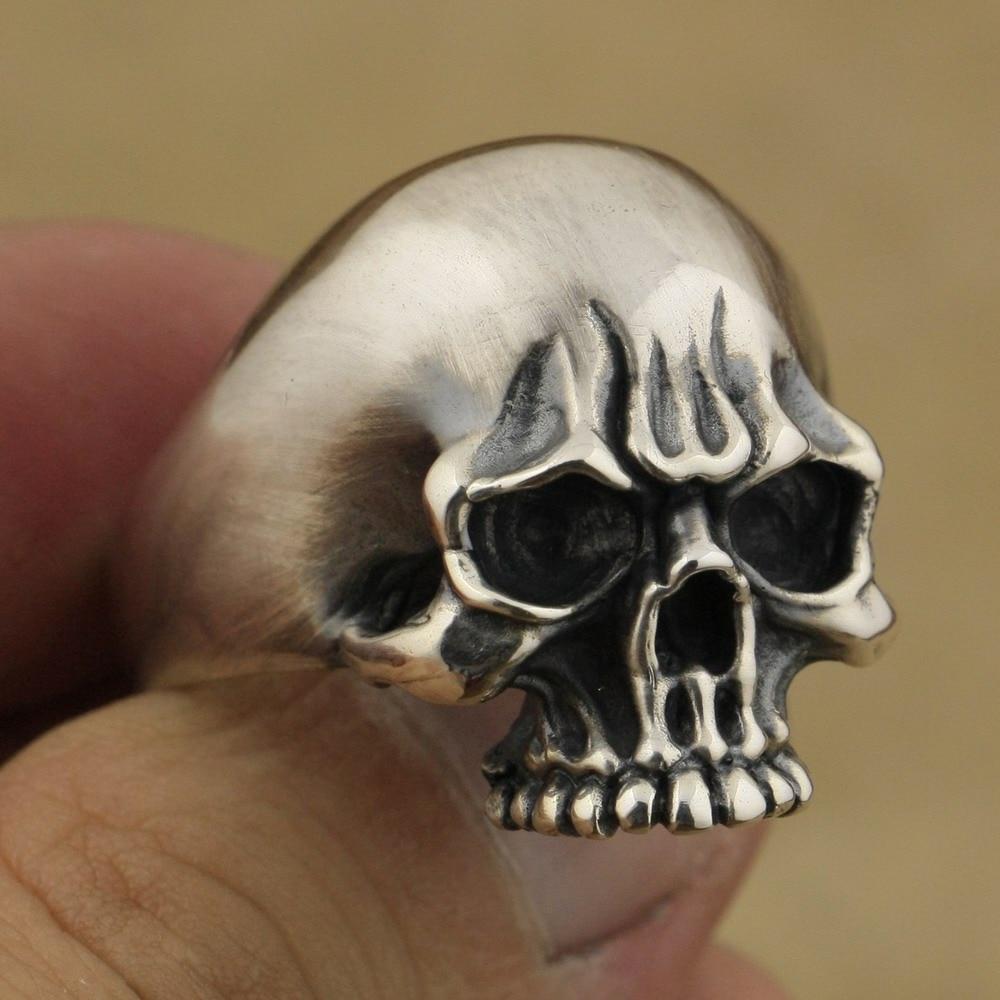 Handmade 925 Sterling Silver Mens Biker Rock Punk Skull Ring TA60A US 7~15 handmade 925 sterling silver joker skull ring mens biker rock punk ring ta78a