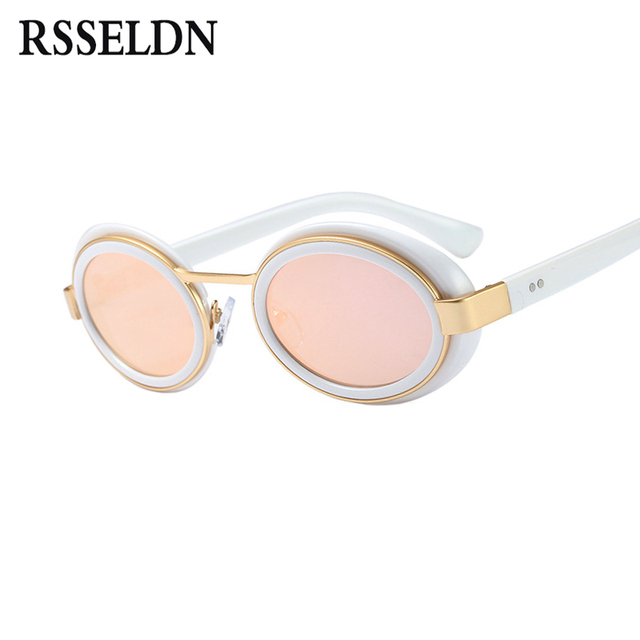 432a12a9f19 RSSELDN Summer Retro Oval Sunglasses Men Brand Designer Pink Blue Silver  Fashion Small Sun glasses For Women Mirror Lens UV400