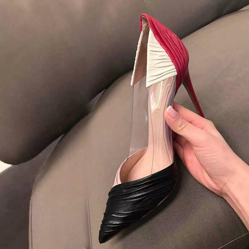 as Color Pvc Talons As Robe Pompes Couleurs Femme Mode Color Showed Patchwork Sexy À Chaussures Mélangées 2017 Hauts Bout Pointu Nouveau wHaRAFqF