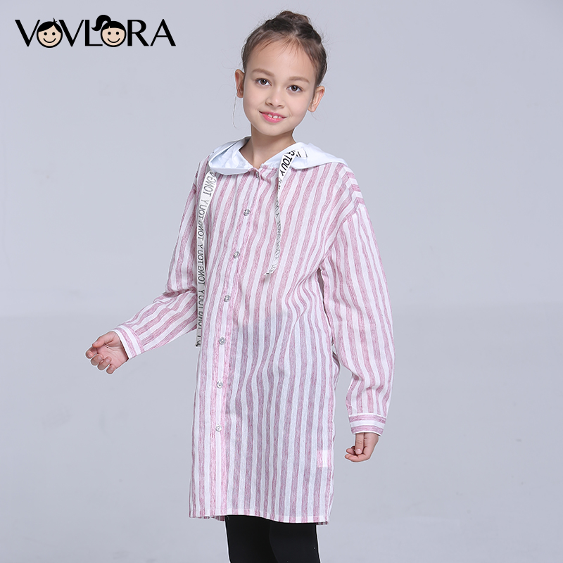 Girls Hooded Blouses Woven Striped Long Kids Blouse Shirt Button Drawstring Children Clothes Spring 2018 Size 9 10 11 12 13 14 Y