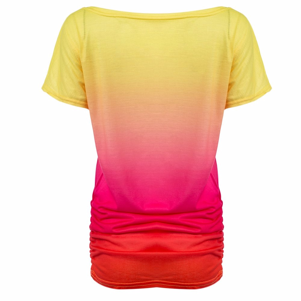 HTB1uACJKVXXXXbmXVXXq6xXFXXXe - Women Tops Dye Print Tee Shirts Short Sleeve Gradient Color Casual