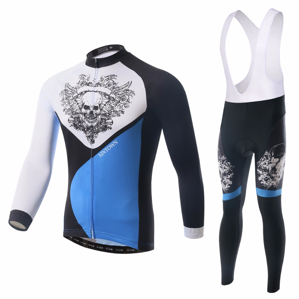 XINTOWN Skull Man Long Sleeve Mountain Bike Clothing Set Padded Cycling Bib Pants 2017 Spring Autumn Quick Dry Bicycle Clothes