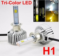 1 Set H1 60W 8000LM Tri Color LED Headlight CSP Chips Golden Yellow White 3000K 4300K 6000K Driving Fog Rainy Snowy Lamps Bulbs