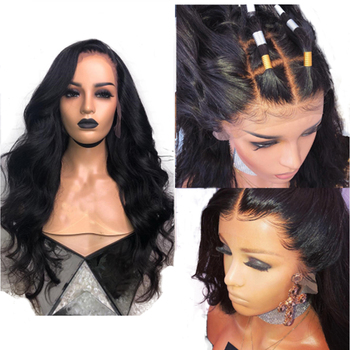 Simbeauty 4X4 Silk Base Lace Front  Human Hair Wig PrePlucked Body Wave Silk Top Wig Brazilian Remy Hair For Women Natural Black