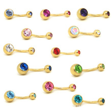 1 Pc Unisex Charm Punk Golden Crystal Rhinestones Navel & Belly Button Rings Body Piercing Jewelry 9 Colors