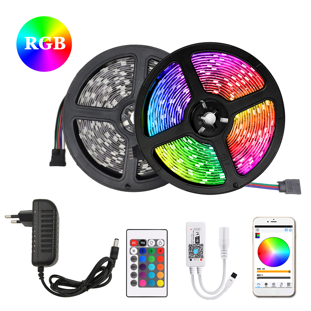 RGB LED Strip 5m 10m 15m Waterproof Led Neon Light 2835 5050 DC12V Flexible Lighting Ribbon Tape Controller Adapter Set