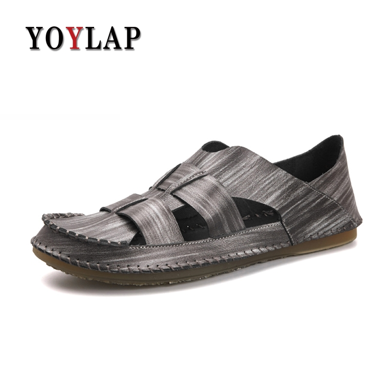 Yoylap Genuine Leather Men Sandals Soft Summer Casual Shoes Men Beach Sandalias Men Shoes Buty Meskie Calcados