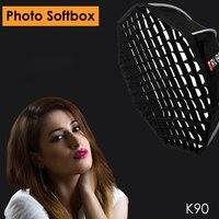 Triopo K90 90 cm Studio Softbox Portable avec grille en nid d'abeille Bowens monture octogone parapluie boîte souple pour Canon Nikon Godox Jinbei