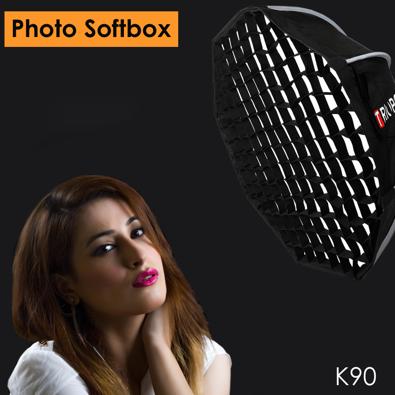 Triopo K90 90cm Studio Portable Softbox w/ Honeycomb Grid Bowens Mount Octagon Umbrella Soft Box for Canon Nikon Godox Jinbei