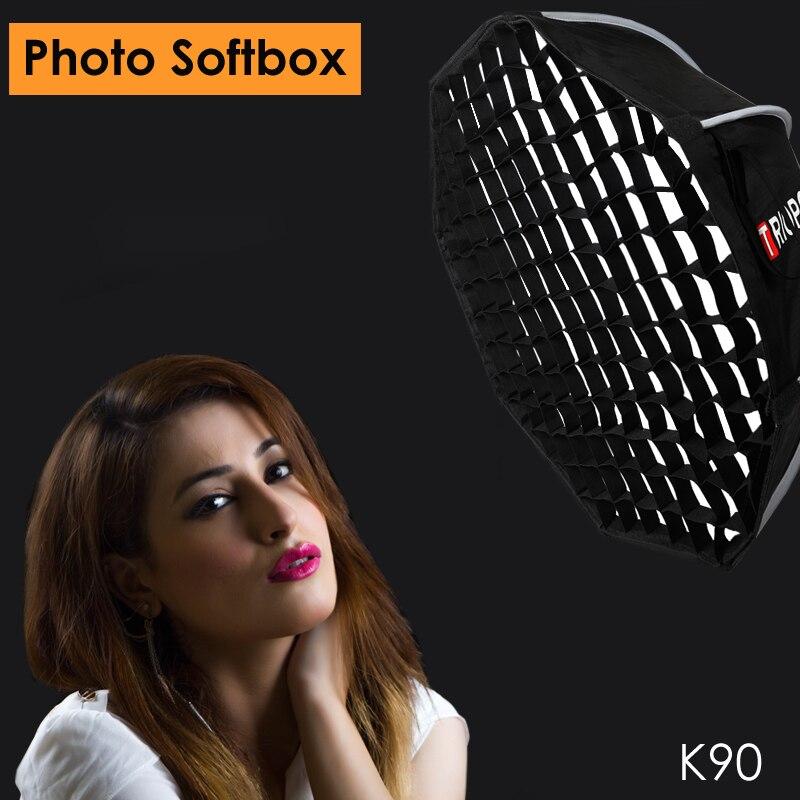 Triopo K90 90cm Studio Softbox Portable avec grille en nid d'abeille Bowens montage Photo vidéo octogone parapluie boîte souple pour Godox Jinbei-in Softbox from Electronique    1