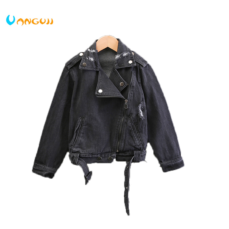 girls denim jacket 4-13 years old spring coat fashion Zipper applique letters childrens outwear Washed hole all match