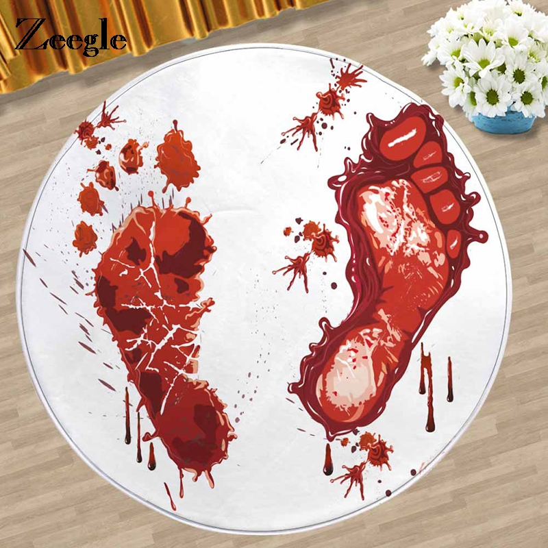Zeegle Bloody Round Carpet For Living Room Non-slip Child Carpet Kids Room Rug Absorbent Office Chair Floor Mat Bedroom Carpet