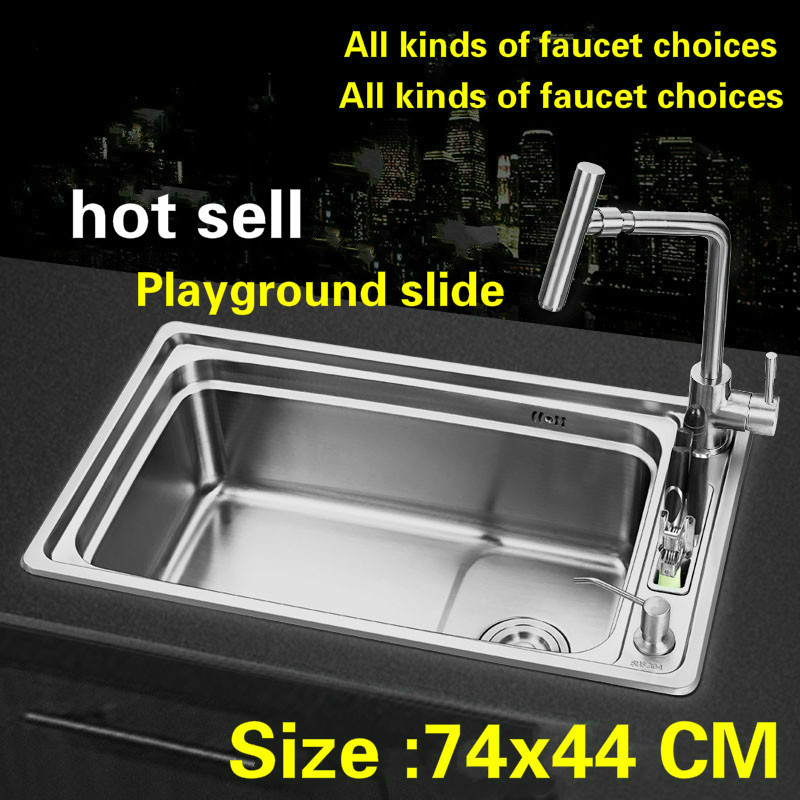 Free shipping Fashionable standard kitchen sink single bowl whole drawing food grade 304 stainless steel hot sell  740x440 MMFree shipping Fashionable standard kitchen sink single bowl whole drawing food grade 304 stainless steel hot sell  740x440 MM