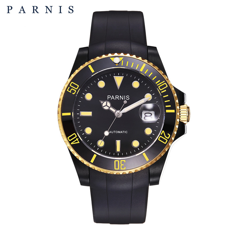 Parnis 40mm Automatic Mechanical Mens Watch Black Yellow Ceramic Bezel Tritium Mens Watches Diving 100m Waterproof Man ClockParnis 40mm Automatic Mechanical Mens Watch Black Yellow Ceramic Bezel Tritium Mens Watches Diving 100m Waterproof Man Clock