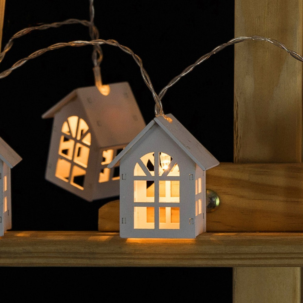 Simple 1.5m 10pcs Led Christmas Tree House Style Fairy Light Led String Wedding Natal Garland New Year Christmas Decorations Led Lighting