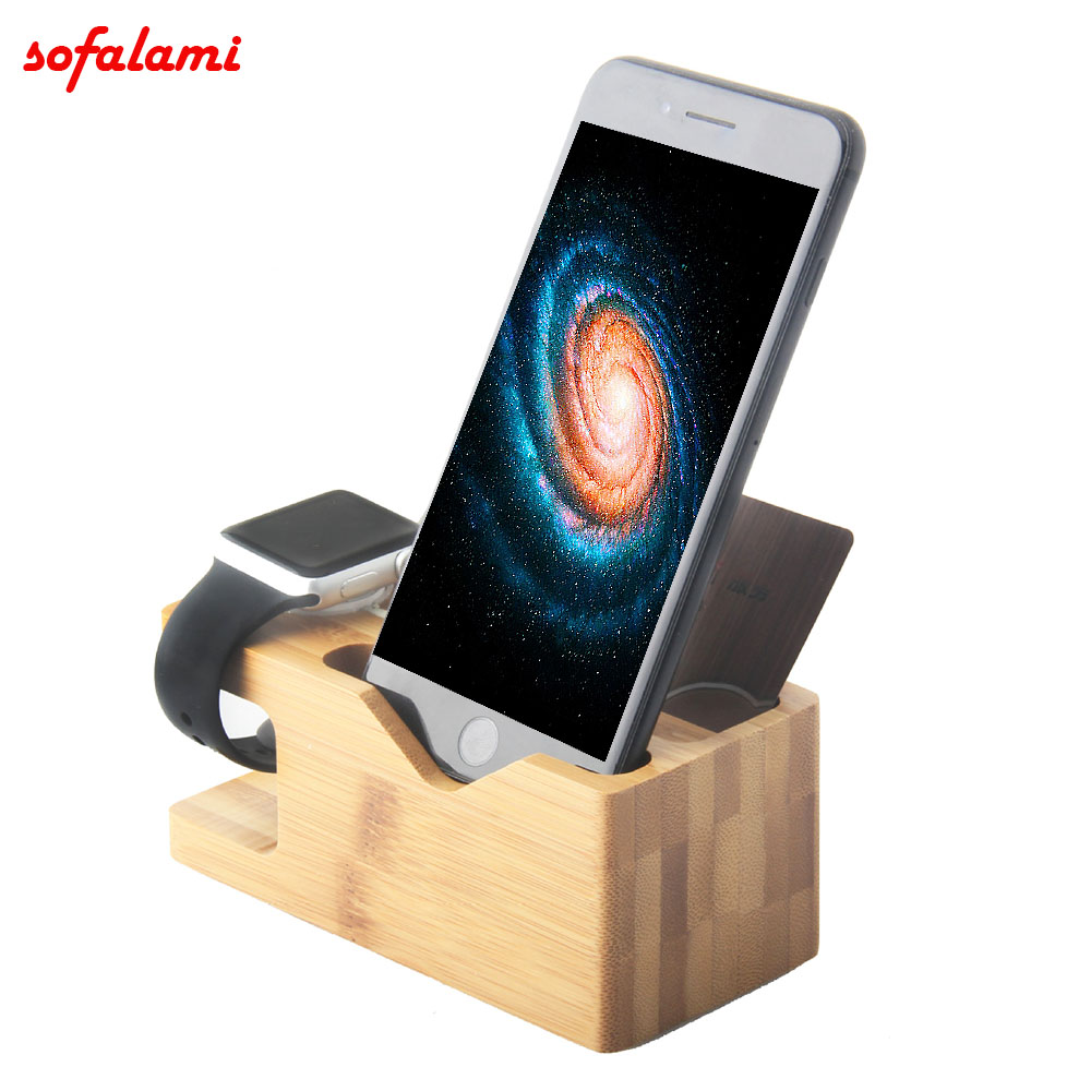 3in1 Natural Bamboo Charging <font><b>Dock</b></font> <font><b>Station</b></font> Bracket Cradle Stand Phone Holder For <font><b>iPhone</b></font> XS MAX 7 8 Plus For Watch 38 42 mm image