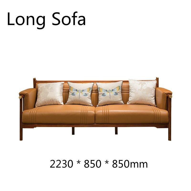 Tea Table Genuine Leather wood furniture living room set china free  shipping design sofas bed sofa cama divano Modern Chinese