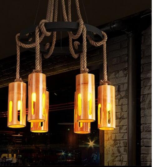 American Village Mahjong Bamboo Tile Iron cafe Pendant Lights Bamboo Industrial Retro Restaurant Light Bar 3/6/8 Head LU724206