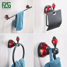 FLG Bathroom Bath Hardware Sets Wall Mount Black Bathroom Accessories Set Paper Holder,Towel Bar, Robe Hook ,Towel Ring цена 2017