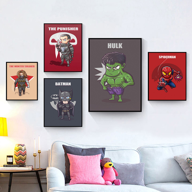 Marvelous Superhero Cute Character Cartoon Batman Captain America Poster Printing A4  Canvas Art Childrenu0027s Bedroom Decor