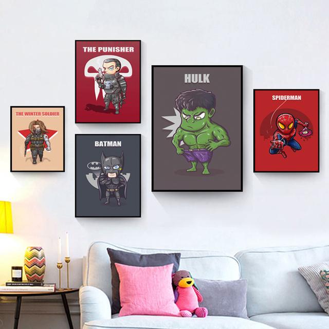 Superhero Cute Character Cartoon Marvel Comics Batman Captain America Poster Printing A4 Canvas Art Children's Bedroom Decor