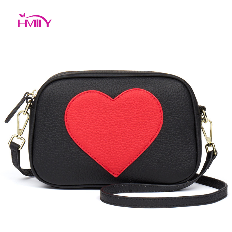 HMILY 2018 Fashion Women Handbag Messenger Bags Leather Shoulder Bag Lady Crossbody Mini Bag Female Heart-shaped Evening Bags 2017 top handle women tassel chain small bags mini lady fashion round shoulder bag handbag pu leather sling crossbody bag female