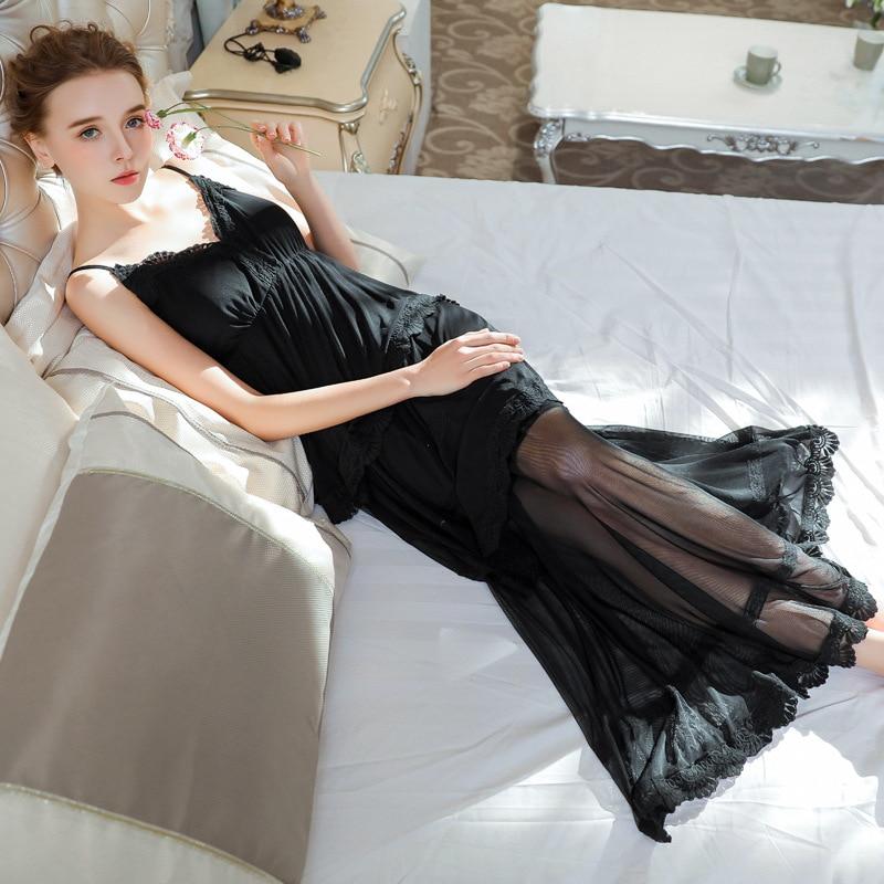 2019 New Summer Black   Nightgowns     Sleepshirts   Sleepwear Women Sexy V-Neck Night Wear Princess Dress Plus Size Homewear Honeymoon