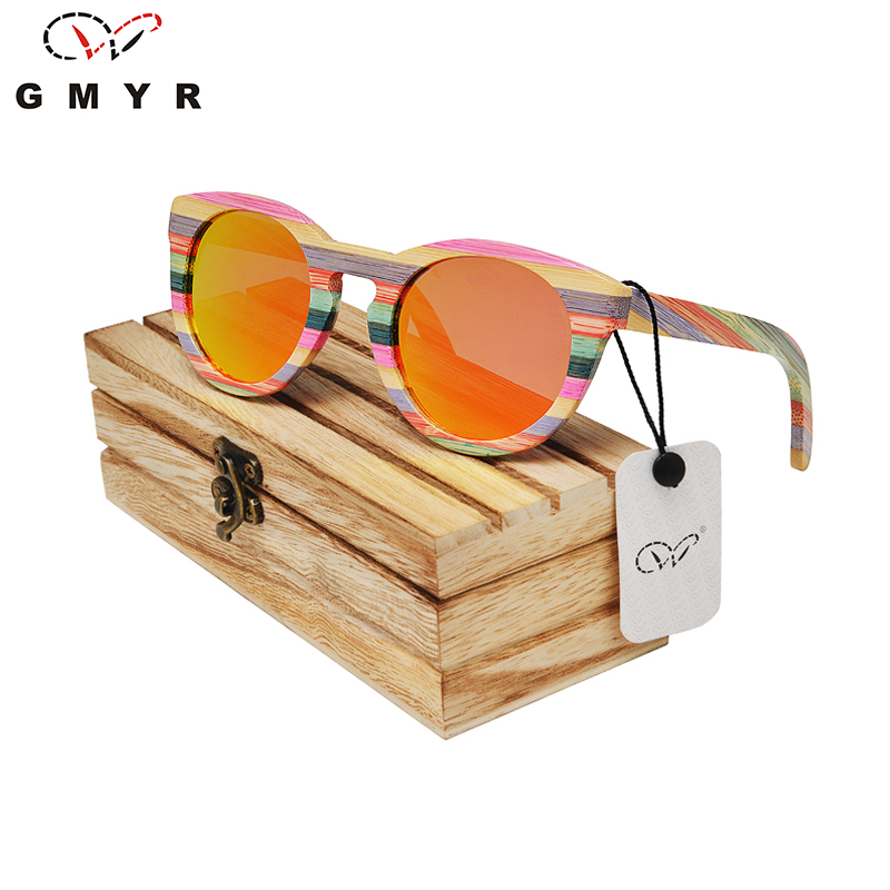 Round Bamboo Frame Sunglasses 2 Lenses Multicolor Mirror Red Green Women Sunglasses Made of wood Madeira