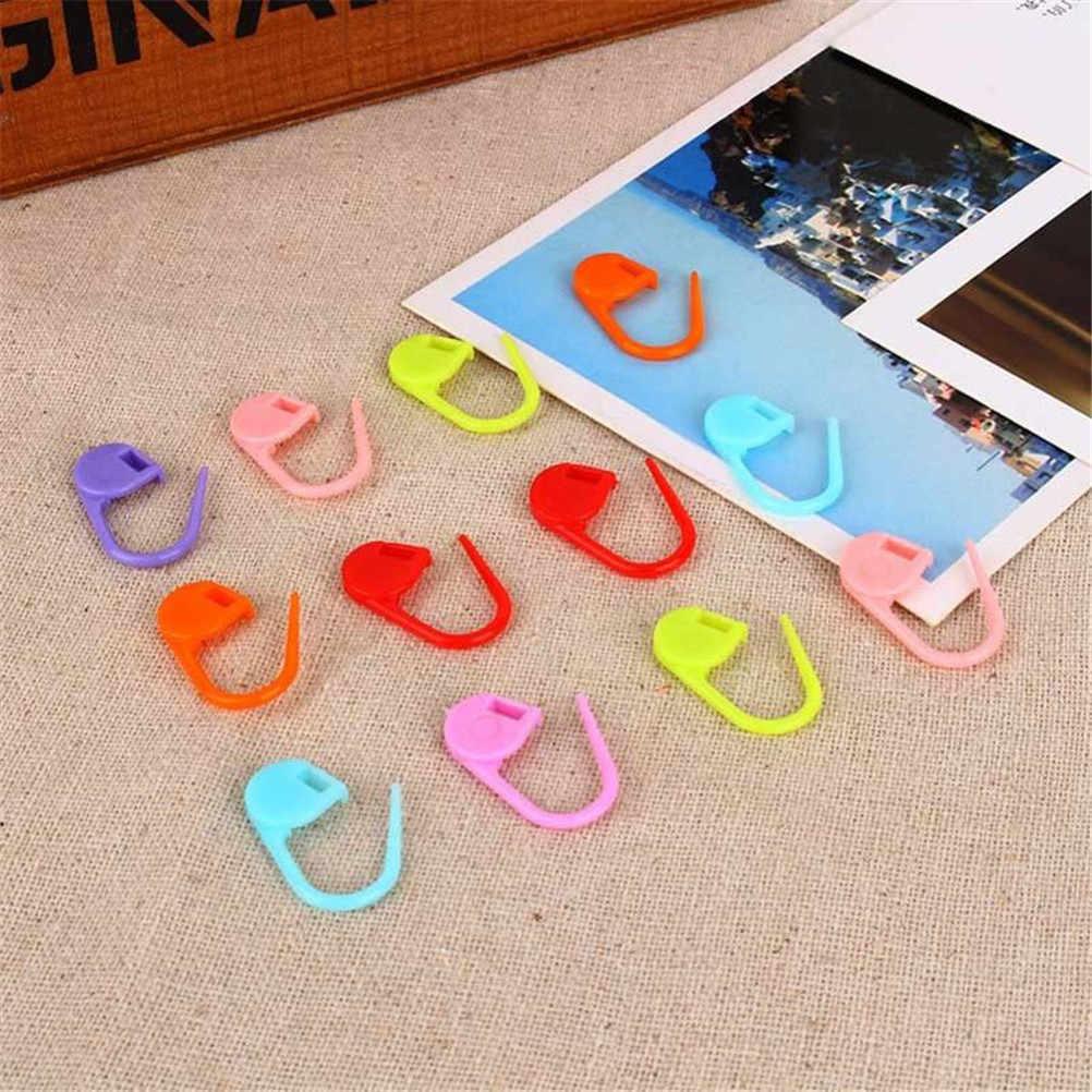 100 pcs Campuran Warna Plastik Knitting Alat Alat Jarum Knitting Crochet Locking Stitch Spidol Latch Clip Kait Whosale