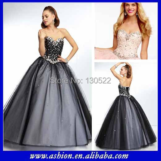 Cinderella white and black prom dresses