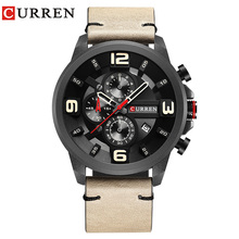 CURREN Light Brown Genuine Leather Calendar 3D 3 Dial Multifunction Sport Black Bezel Watches Men Top Brand Luxury Quartz Watch все цены