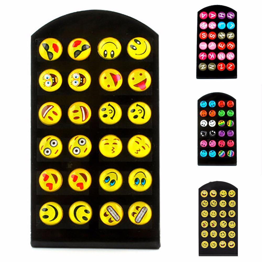 12 Pairs/Lots Emoji Letter Earring Fashion Cartoon Smile Funny Face Ear Stud DIY for Women Girls Christmas Gift #253783