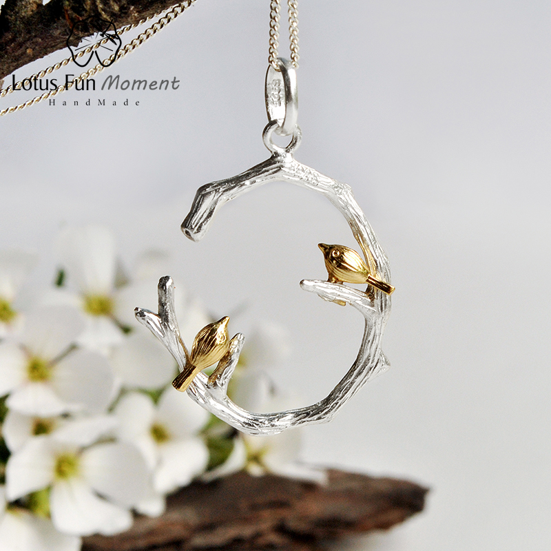 Lotus Fun Moment Real 925 Sterling Silver Natural Handmade Fashion Jewelry Bird on Branch Pendant without Necklace for WomenLotus Fun Moment Real 925 Sterling Silver Natural Handmade Fashion Jewelry Bird on Branch Pendant without Necklace for Women